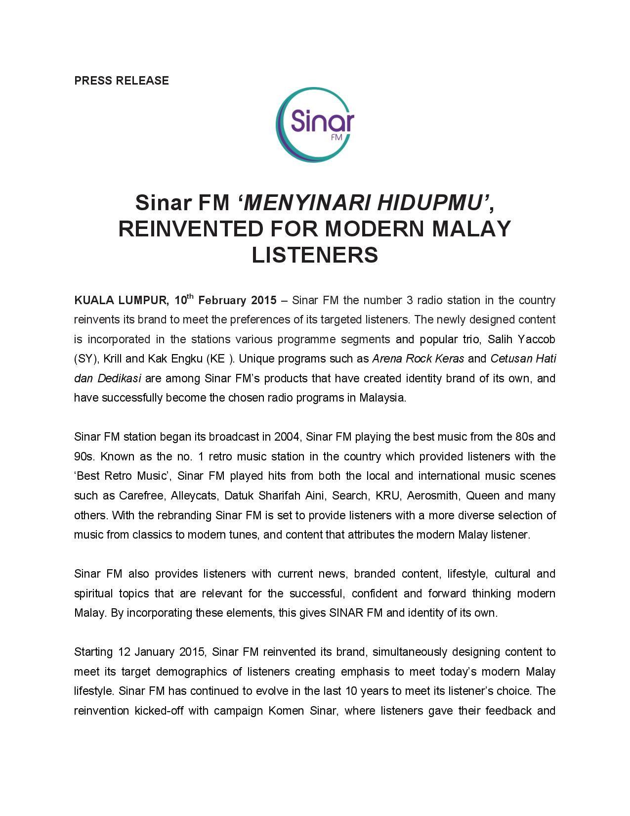 Press Release on Sinar FM's Rebranding