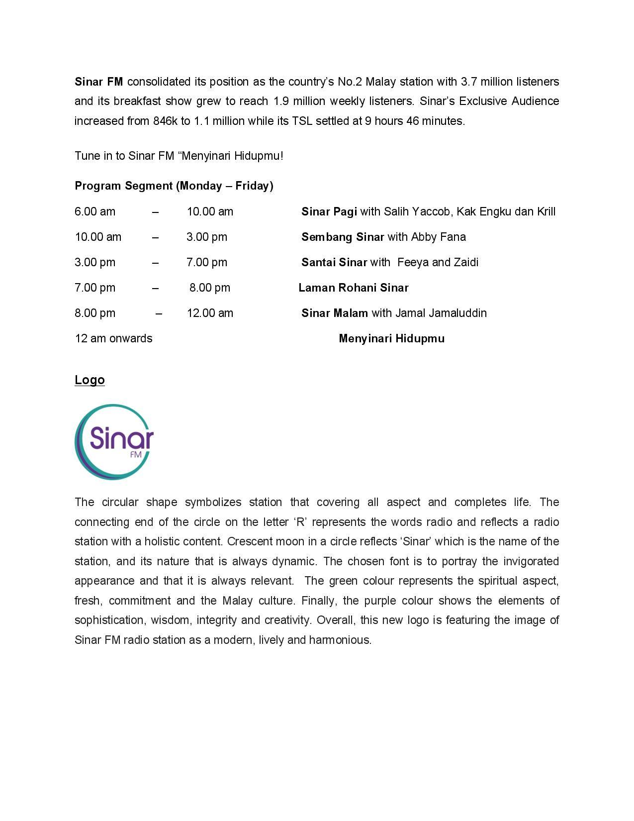 Press Release on Sinar FM's Rebrandin