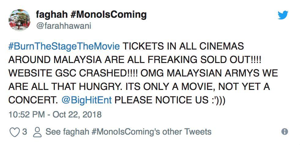 laman web terus down sebab peminat serbu tiket filem pertama bts
