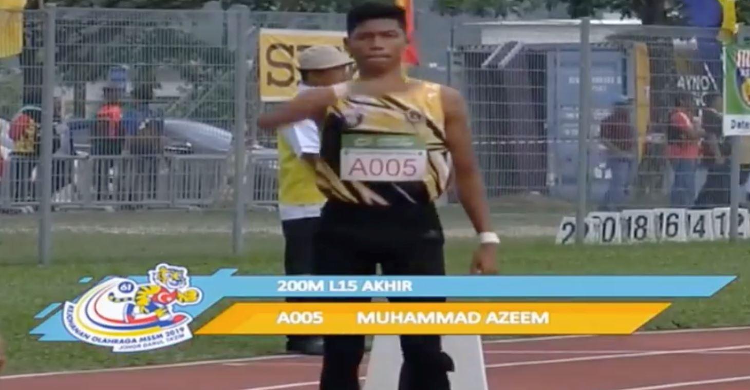 """""""ada darah flash ni"""", azeem fahmi sekali lagi cipta rekod, kali ini dalam acara 200m pula"""