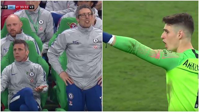 (video) golkeeper chelsea enggan di tukarkan di minit akhir, kalah piala carabao