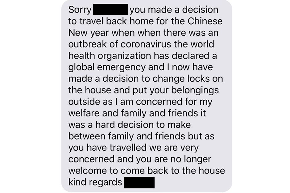 msian student evicted by landlord bcs she flew back for cny