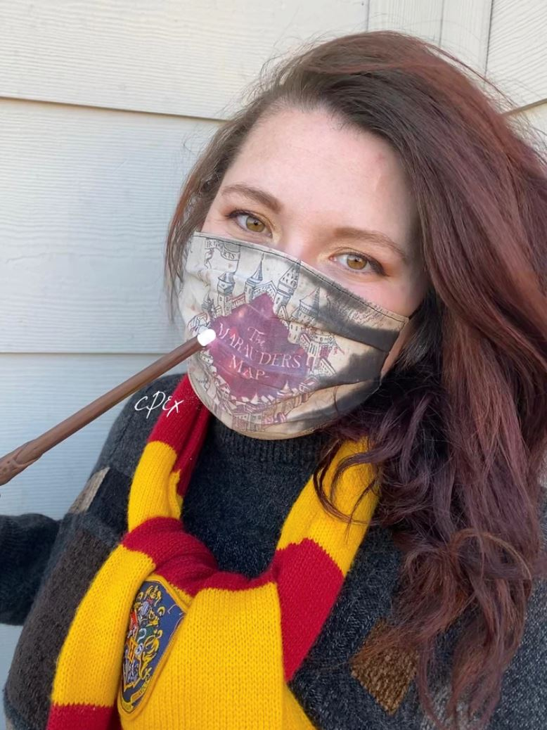 artist creates 'harry potter' face mask that reveals the marauder's map when you breathe