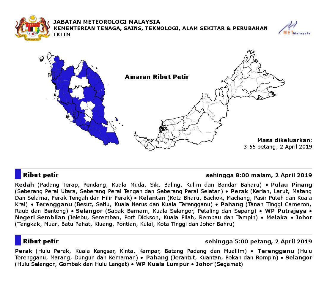 seluruh semenanjung malaysia dilanda ribut petir  bermula petang ini hingga malam