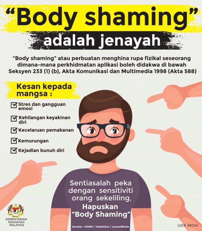 stop body shaming ! mengejek buruk fizikal sesorang boleh dipenjara
