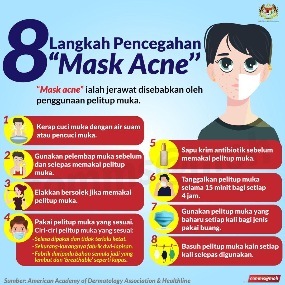 alamak! muka jerawat kerana pelitup muka, ini 8 langkah pencegahan 'mask acne' oleh kkm!