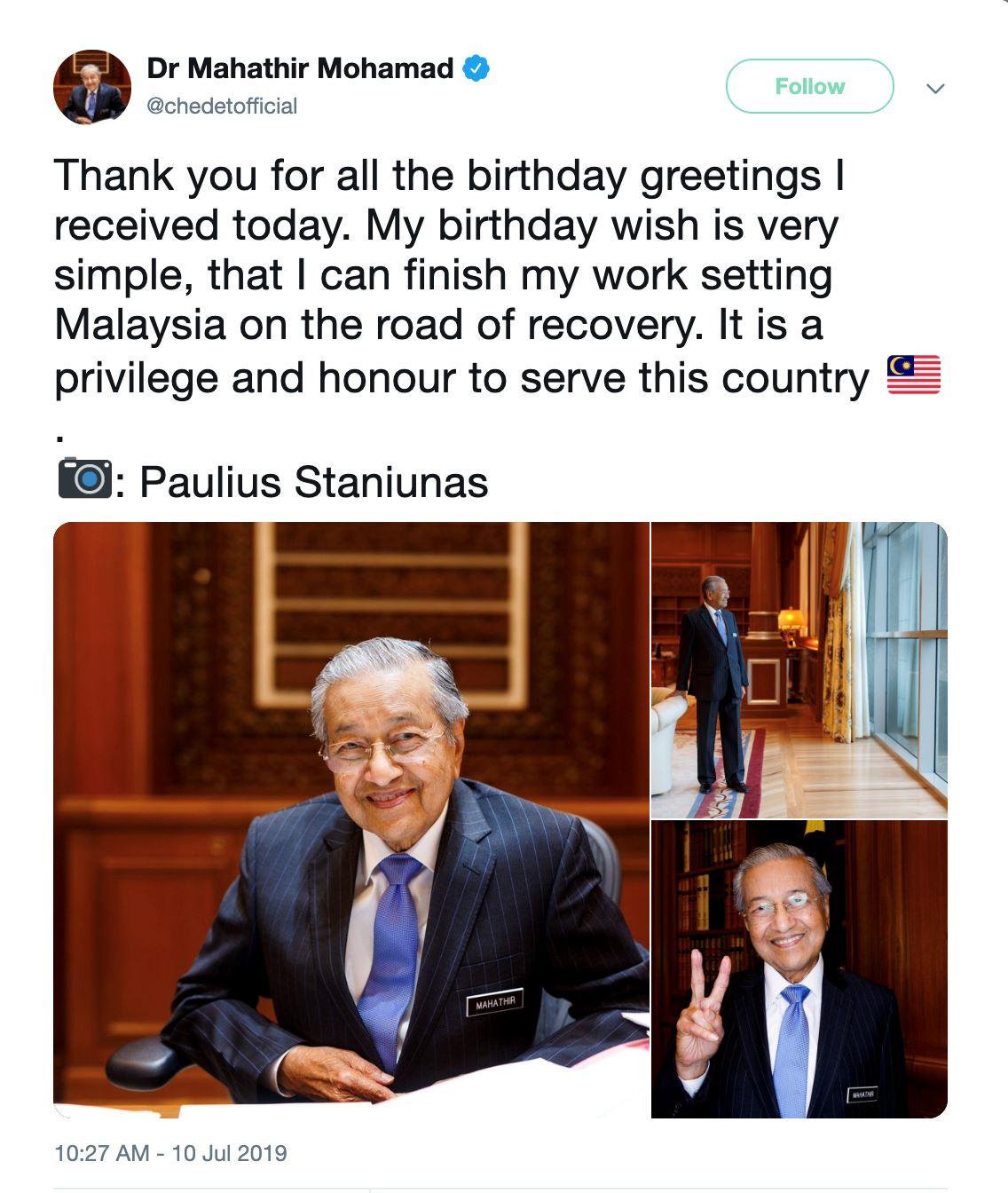 genap 94 tahun, tun m balas ucapan rakyat dan belanja gambar beliau