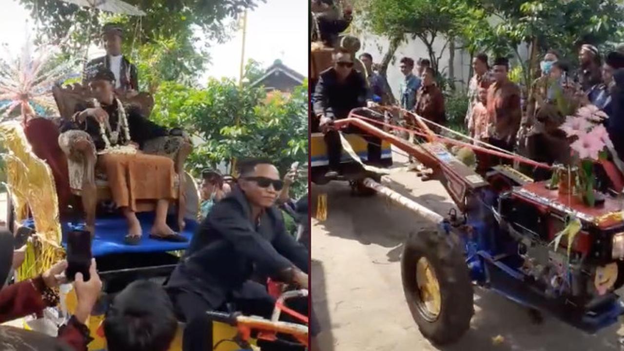 pengantin lelaki diarak menggunakan traktor sekitar kampung