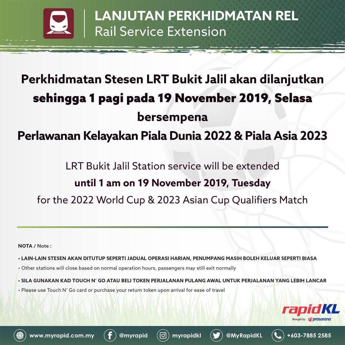 lrt akan dibuka sehingga jam 1 pagi bersempena perlawanan malaysia menentang indonesia