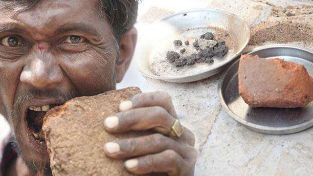 lelaki india ketagih makan batu dan lumpur