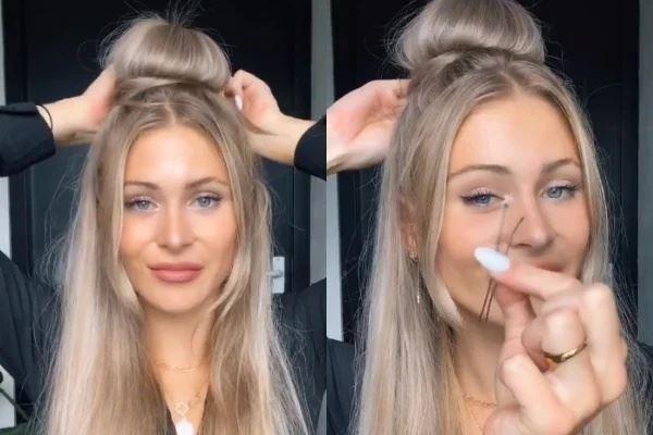 wanita ini buat bun rambut hanya guna penutup minuman