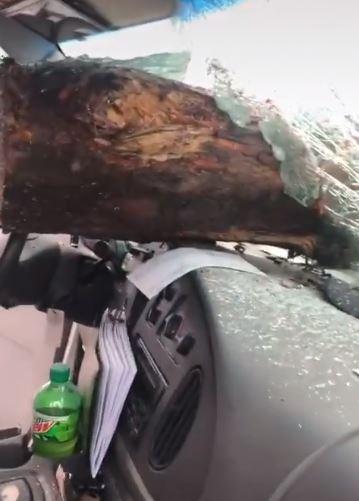 kayu balak jatuh hempap kereta belakang, ''ni sebab tak berani dekat..''