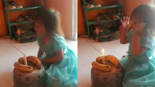 sebak, anak kecil gembira sambut hari jadi dengan pisang kerana keluarga tidak mampu beli kek