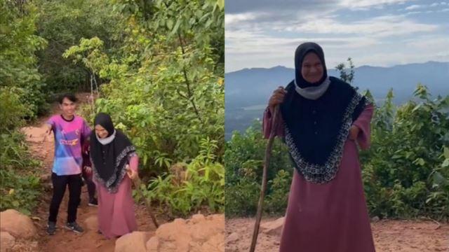 dengan hanya mengenakan jubah & sandal, nenek 74 tahun ini 'steady' daki puncak gunung