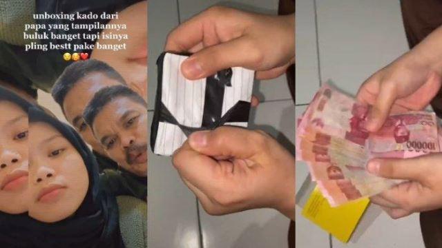gadis terima hadiah dari bapa, disangka bungkusan kertas biasa, rupanya wang