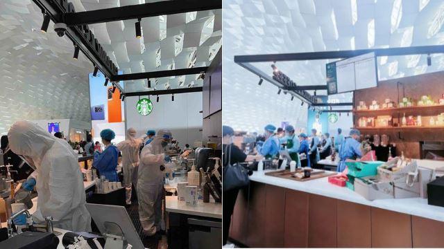 macam dekat dalam makmal, pekerja francais kopi di china serba lengkap kenakan ppe ketika bekerja