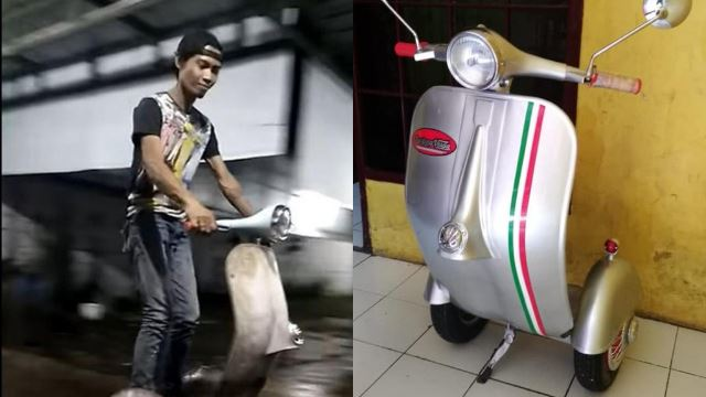 terbaik! pemuda indonesia cipta sendiri vespa skuter elektrik