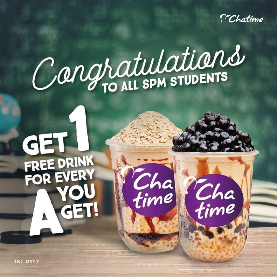 chatime 免费送饮料给 spm学生!只要你有a就可领取了 !