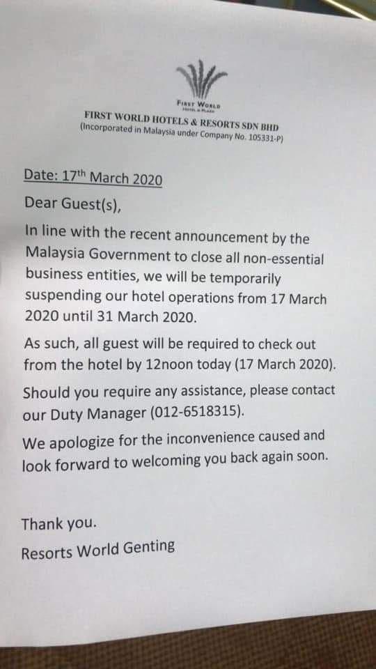 【行动管制】genting云顶酒店关闭15天!住客今日起必须退房!
