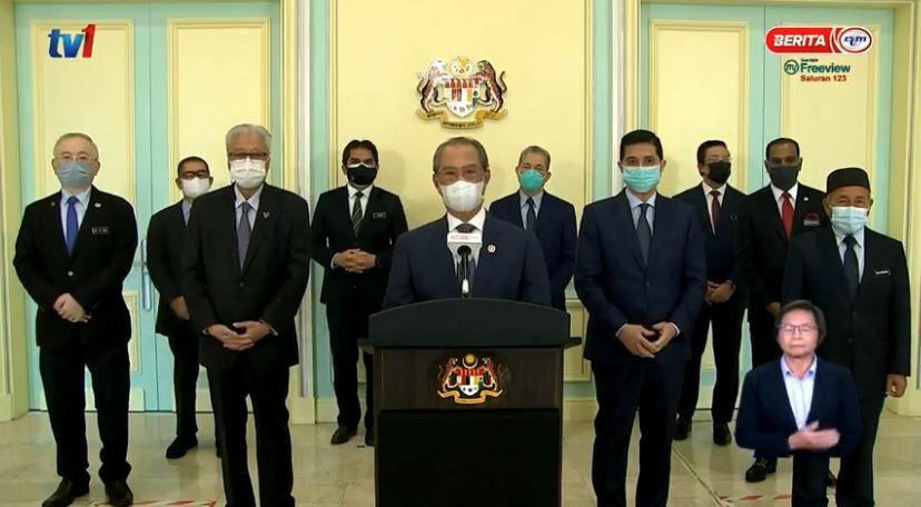 首相慕尤丁直播宣布:国盟政府继续履行职务