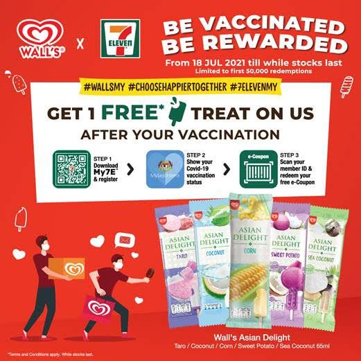 已接种疫苗的民众可免费拿到冰淇淋!打了一剂也可以!