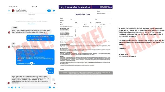 Scam Alert! The Tony Fernandes Foundation Is Fake!