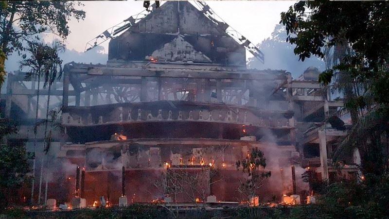 part of langkawi's andaman resort ravaged in flames