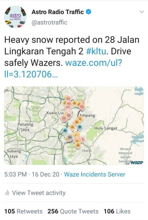waze reported of heavy snow yesterday and people freaked out!