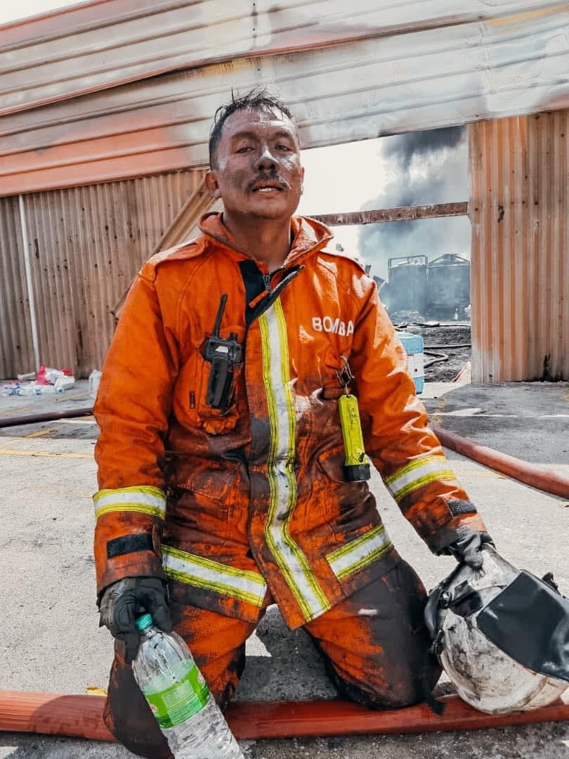 some heroes wear orange fireproof suits!