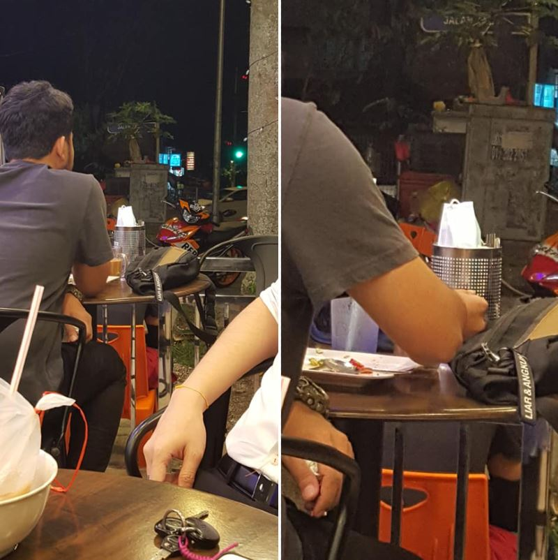 man spotted storing his face mask in mamak cutlery holder
