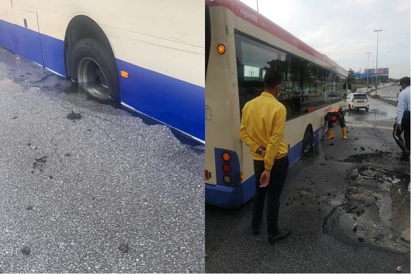 another sinkhole appears in setapak due to burst water pipe