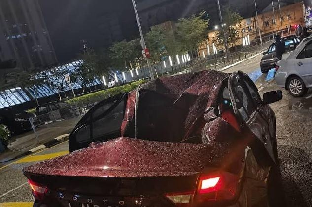 car was not damaged by a falling object, so what actually happened?