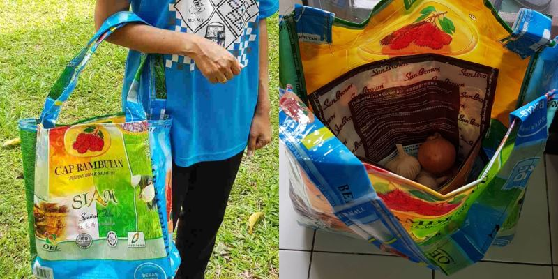 turn your old plastic rice bags into fashionable grocery bags!