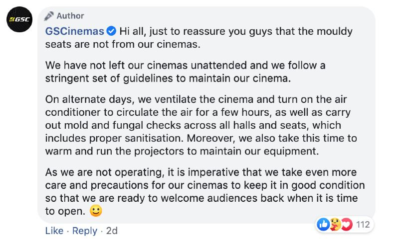 gscinemas clarifies that moldy seats are not theirs!