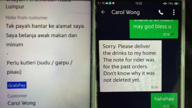 GrabFood Rider Mistakenly Thought He Received Free Drinks From Customer