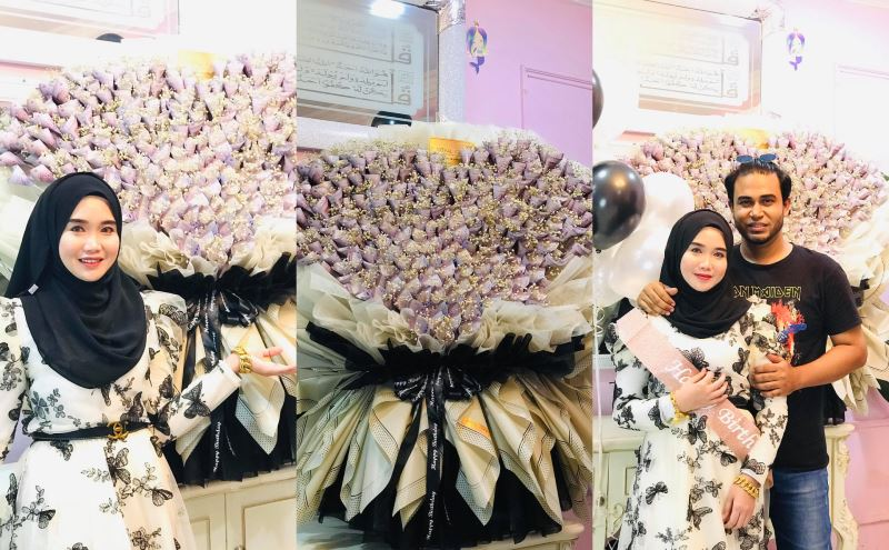 this sabahan woman received a rm29,000 flower bouquet for her birthday!