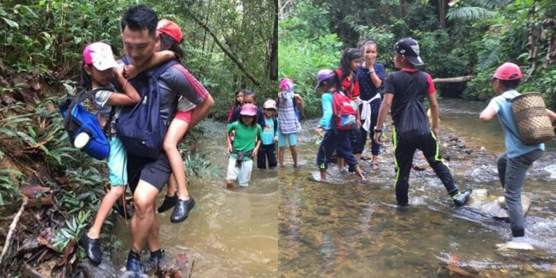 sarawak teacher takes students and parents on a hike to find internet access