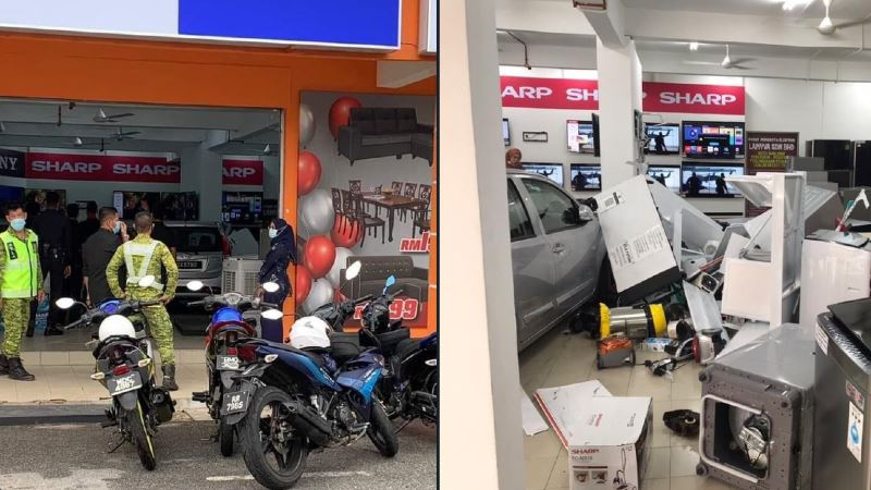 a driver crashed into a shop in melaka, injuring a customer