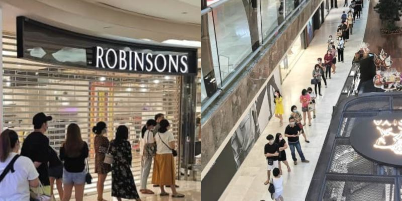 long queue spotted outside robinsons after announcing its closure