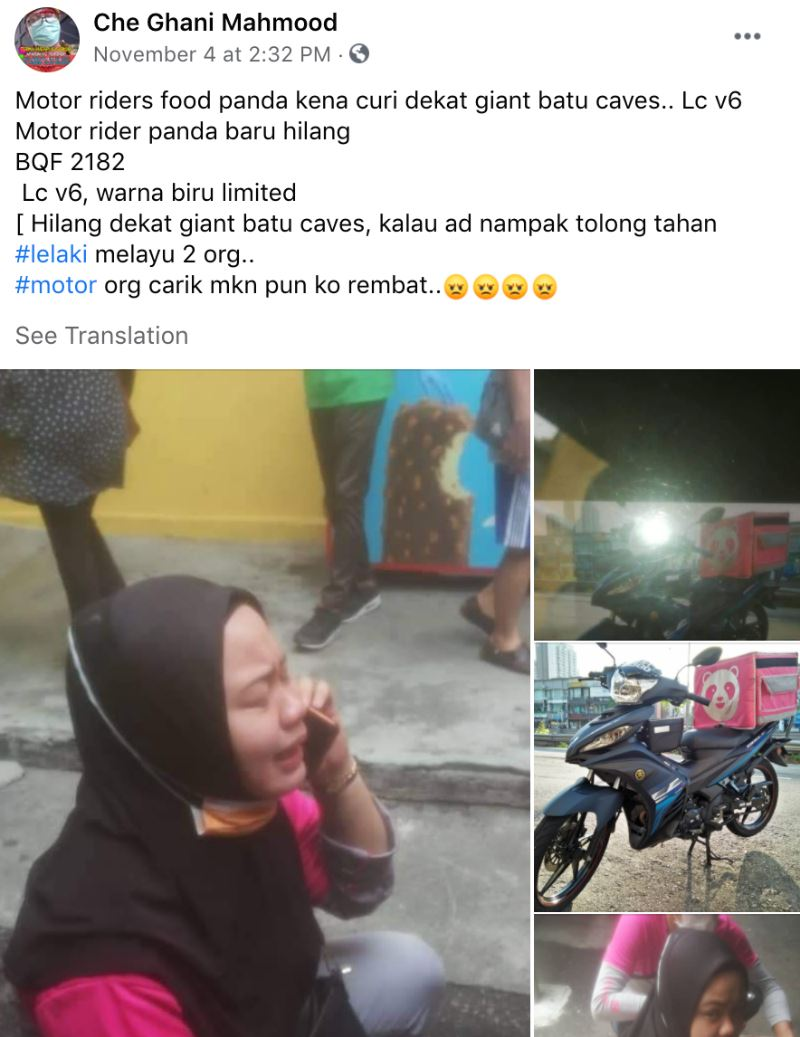 delivery rider's motorcycle allegedly stolen, selangor queen gifted her a new one!