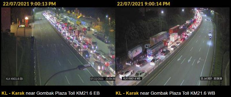 there was a 6-hour traffic congestion at gombak toll yesterday