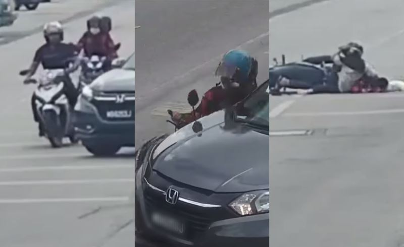 car makes illegal u-turn and hits two motorcyclists in kota bharu