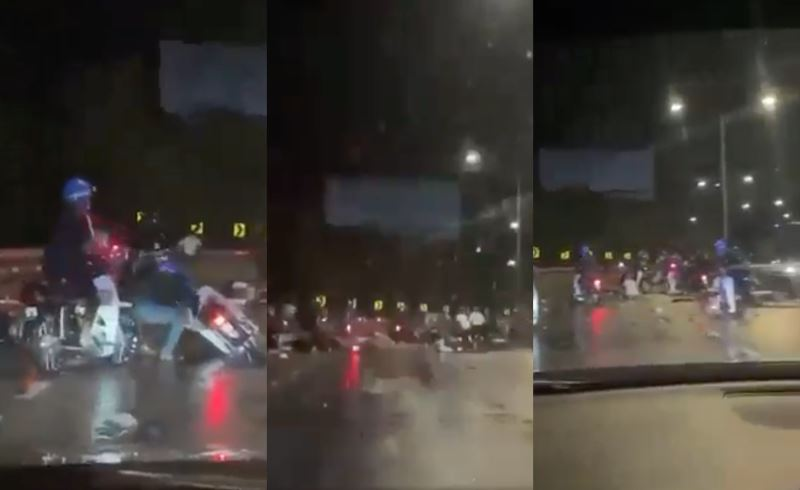 30 motorcyclists collided with each other on penang highway