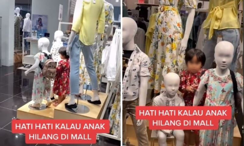 young girl caught on camera pretending to be a mannequin at shopping mall