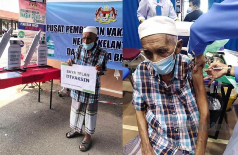 105-year-old kelantanese man is the oldest man to get vaccinated!