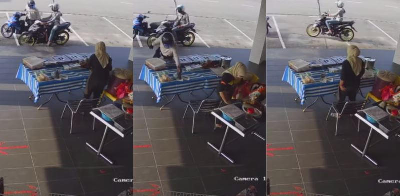 motorcyclists robbing food vendor in shah alam caught on cctv