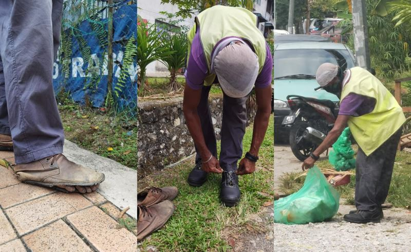not wanting anything for his birthday, man gifts a pair of shoes to street sweeper instead