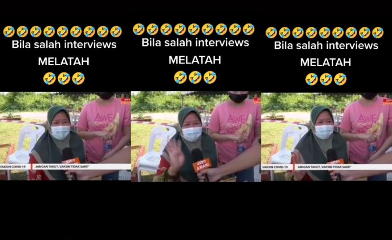 """video of mak cik """"melatah"""" while asking people to go get vaccinated went viral!"""