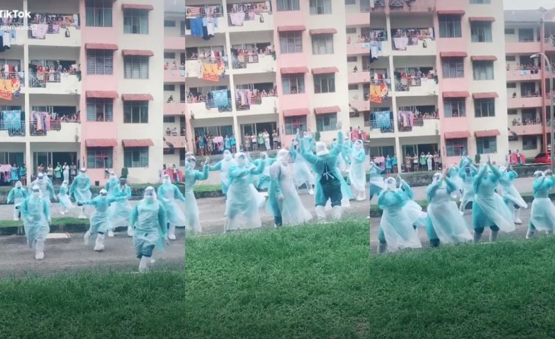 video of frontliners dancing and entertaining residents at emco area goes viral!