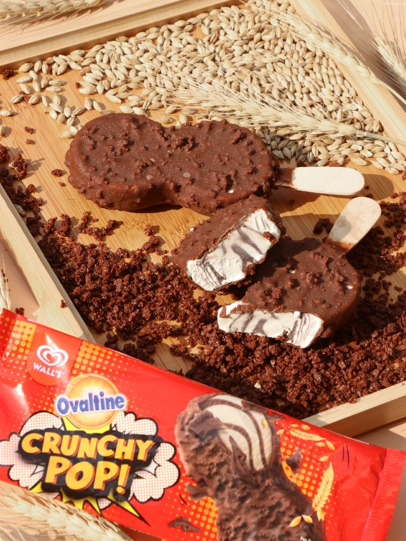 the new wall's ovaltine crunchy pop ice cream shakes up the ordinary with a #crunchykawkaw surprise